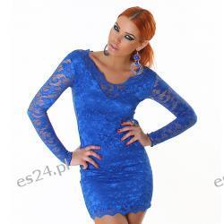 Seksowna sukienka z koronki 3 nowe kolory - szafirowy S