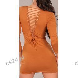 Efektowna sukienka z rozcięciami karmelowa Sukienki wieczorowe