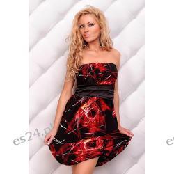Słodka sukienka Body Cover czarno-czerwona S/M Sukienki wieczorowe