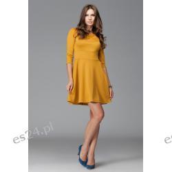 Elegancka sukienka z rękawem 3/4 musztardowa M Sukienki wieczorowe