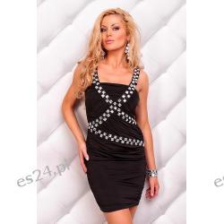 Seksowna czarna sukienka Redial dekorowana kamieniami Sukienki wieczorowe