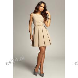 Śliczna sukienka z kontrafałdami - najnowszy model - beżowa M