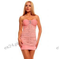 Seksowna sukienka - tunika 3 kolory łosoś UNI Sukienki wieczorowe
