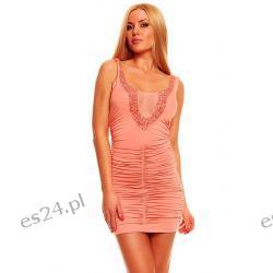 Seksowna sukienka 2 kolory łosoś S Sukienki wieczorowe