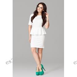 Elegancka sukienka z baskinką ecru M Sukienki wieczorowe