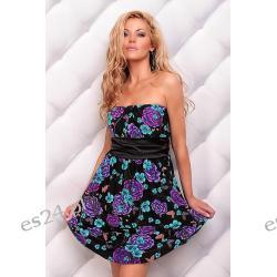 Słodka sukienka Body Cover 6 czarna w kwiaty S/M Sukienki wieczorowe