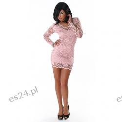 Seksowna sukienka z koronki 3 nowe kolory - jasny różowy L