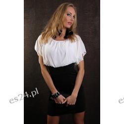 Elegancka sukienka dwukolorowa z szyfonem biała Sukienki wieczorowe