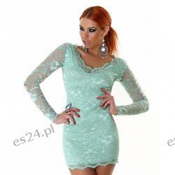Seksowna sukienka z koronki 3 nowe kolory - miętowy XS