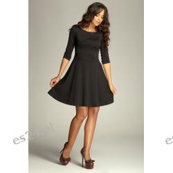 Elegancka sukienka z rękawem 3/4 czarna M Sukienki wieczorowe