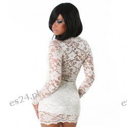 Seksowna sukienka z koronki ecru L