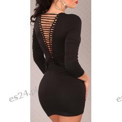 Efektowna sukienka z rozcięciami czarna Sukienki
