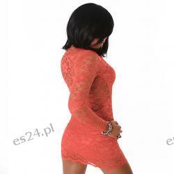 Efektowna sukienka z koronki w kolorze morelowym L