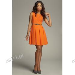 Śliczna sukienka z kontrafałdami - najnowszy model - orange M