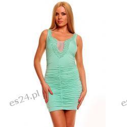 Seksowna sukienka 2 kolory mięta L Sukienki wieczorowe