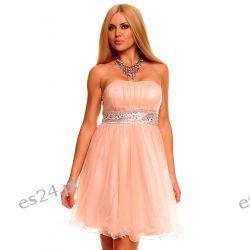 Słodka sukienka z szyfonu morelowa M Sukienki wieczorowe