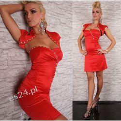 Luksusowa czerwona sukienka z bolerkiem kamienie S