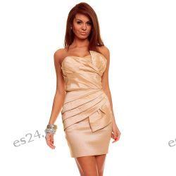 Luksusowa beżowa sukienka tafta S Sukienki mini