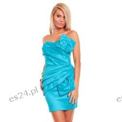 Luksusowa turkusowa sukienka tafta XS