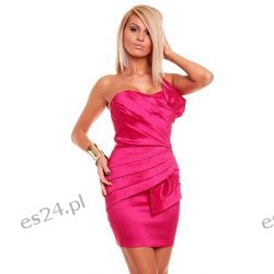 Luksusowa różowa sukienka tafta M Sukienki wieczorowe