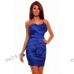 Luksusowa szafirowa sukienka tafta M