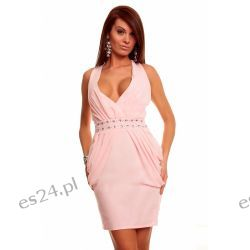 Sukienka z szyfonu z kamieniami morelowa M Sukienki wieczorowe