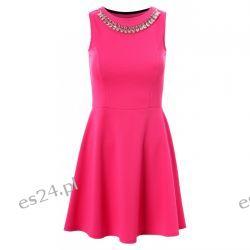 Śliczna neonowa sukienka z naszyjnikiem róż L Sukienki mini