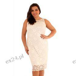 Śliczna sukienka z koronki w kolorze ecru 48 Sukienki wieczorowe