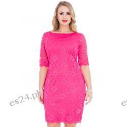 Śliczna różowa sukienka z koronki 44