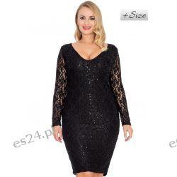 Śliczna sukienka z koronki czarna 44