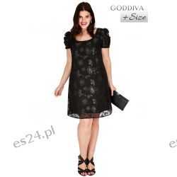 Śliczna czarna sukienka z szyfonu w kwiaty 44
