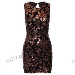 Śliczna czarno-złota sukienka z cekinami L Sukienki wieczorowe