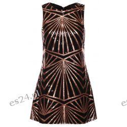 Śliczna czarno-złota sukienka z cekinami S Sukienki wieczorowe