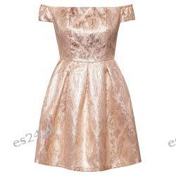 Śliczna beżowo-złota żakardowa l Sukienki mini