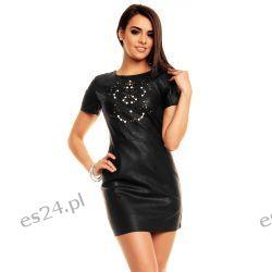 Śliczna czarna sukienka ekoskóra L