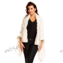 Luksusowe biału ponczo z futerka UNI Okrycia wierzchnie