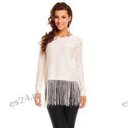 Elegancki sweterek z frędzlami /cekiny-koraliki/ biały UNI Swetry