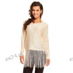 Elegancki sweterek z frędzlami /cekiny-koraliki/ beżowy UNI Swetry