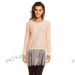 Elegancki sweterek z frędzlami /cekiny-koraliki/ różowy UNI Swetry