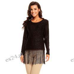 Elegancki sweterek z frędzlami /cekiny-koraliki/ czarny UNI Swetry