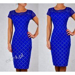 """Seksowna sukienka """"Ivonne"""" duże rozmiary szafirowa 44"""