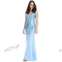 Zjawiskowa sukienka cekiny szyfon błękit M Sukienki wieczorowe