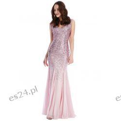 Zjawiskowa sukienka cekiny szyfon róż XS