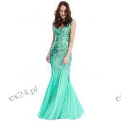 Zjawiskowa sukienka cekiny szyfon mięta M Sukienki wieczorowe