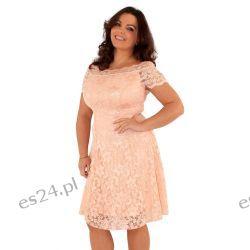 Śliczna różowa sukienka z koronki 44 Sukienki wieczorowe