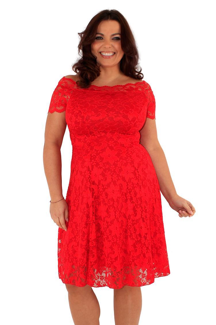 66c0d13b62 Śliczna czerwona sukienka z koronki 44 na Bazarek.pl