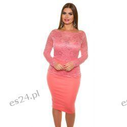Śliczna sukienka z koronką koral 50