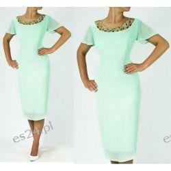 """Seksowna sukienka """"Marlena"""" duże rozmiary mięta 44"""