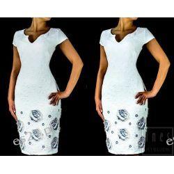 Elegancka sukienka Jagoda ecru - granat 46