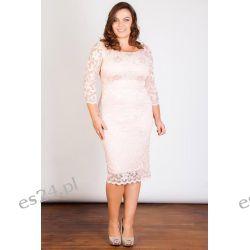 Seksowna sukienka z koronki różowa 44